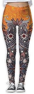 XMKWI Ukrainian Flora Round Women's Power Flex Sports Yoga Pants Workout Tights Leggings Trouser