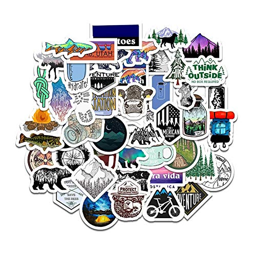 HENJIA Outdoor Travel Sports Adventure Camping Cartoon Waterproof Stickers For Scrapbook Luggage Snowboard Motorcycle 50Pcs