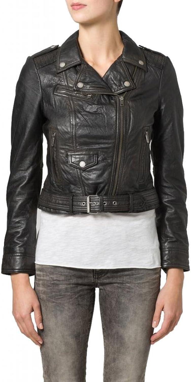 Leather Women's Lambskin Leather Bomber Biker Jacket W076