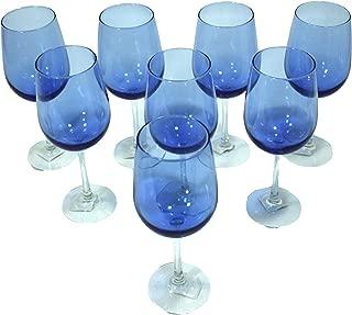 Cobalt/Royal Blue, Clear Stem, Two-Tone Wine Glasses - Set of 4