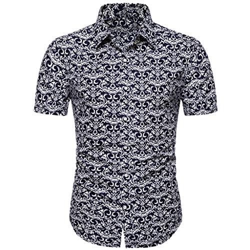 Briskorry Hemden Mode für Herren Slim Fit Casual Button Print Hawaii Print Strand Kurzarm Top Bluse