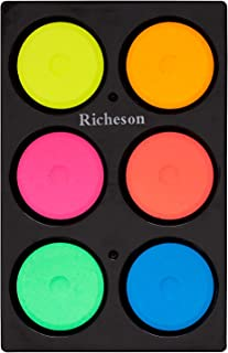 Sax Non-Toxic Tempera Paint Cakes - 1 11/16 x 5/8 inch - Set of 6 - Assorted Fluorescent Colors