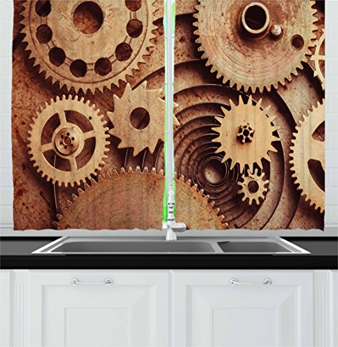 "Ambesonne Industrial Kitchen Curtains, Inside The Clocks Theme Gears Mechanical Device Image in Steampunk Style Print, Window Drapes 2 Panel Set for Kitchen Cafe Decor, 55"" X 39"", Pale Brown"