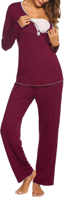 MAXMODA Women's Maternity Nursing Pajama Set Breastfeeding Sleepwear Set Buttons Long Sleeve Top & Pants Pregnancy PJS