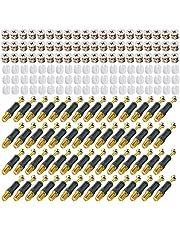 LOOTICH Kit de Excéntricas Ø14,7mm con Pernos M6x32mm y Tuercas M6 para Accesorios de Conexión de Muebles de Gabinete Negro (100 Sets)