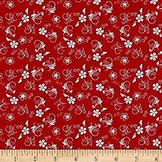 Santee Print Works The Red Black Basics Flowers White Fabric by The Yard