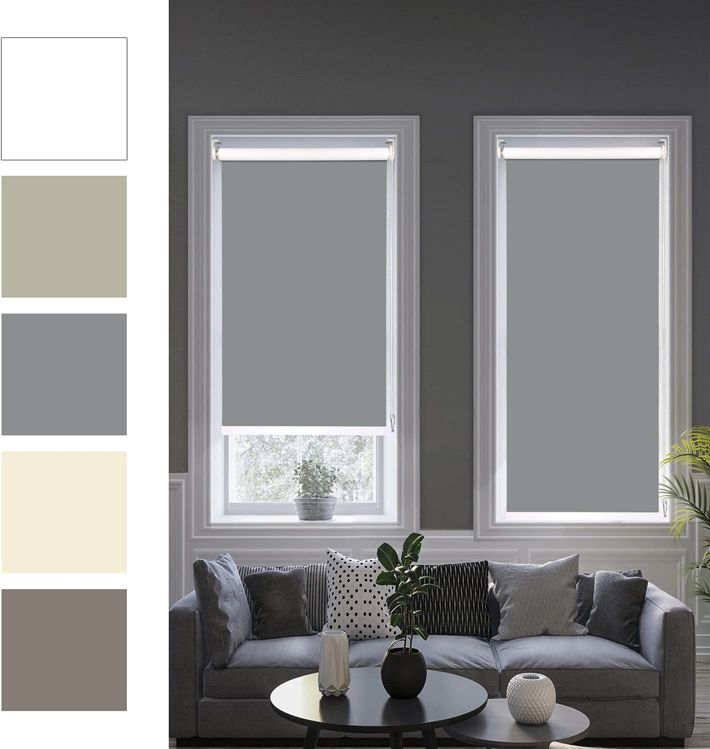100% Award-winning store Blackout Roller Shades Gray Window Blinds and Ranking TOP1 Custo