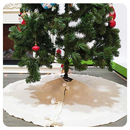 Loozykit Christmas Tree Skirt, 48 Inches Knitted Tree Skirt White Thick Rustic Xmas Tree Mat for Holiday Decoration New Year Party Large Knit Tree Skirt