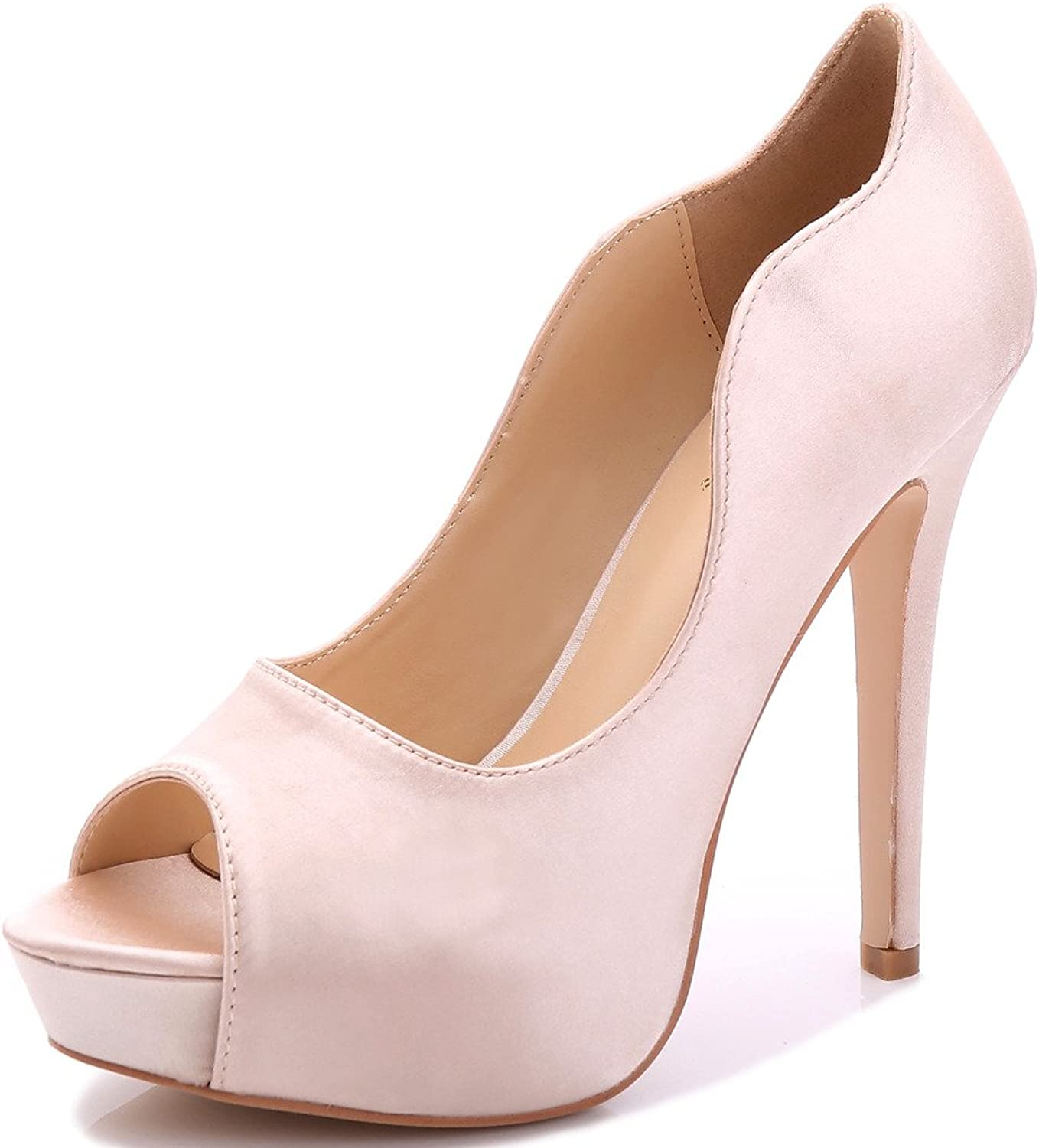 YooPrettyz Women Peep Toe Satin shoes Wedding Stiletto shoes Evening Pumps Bridal High-Heels