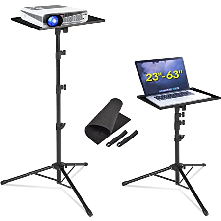 AkTop Pro Laptop Projector Tripod Stand, Universal Laptop Floor Stand Adjustable Tall 23 to 63 Inch, Foldable Computer DJ Equipment Holder Mount, Perfect for Stage or Studio with Portable Travel Bag