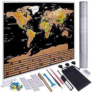 Anpro Mapa del Mundo Raspado en Oro Negro con Bandera,Mapa Mundi Rascar Grande para Pared con 46 Piezas de Accesorios