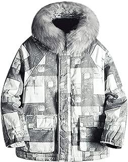 JJHAEVDY Mens Fashion Windproof Colorful Printed Snow Ski Jacket Warm Winter Coats with Fur Hooded