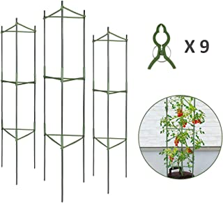 GROWNEER 3-Pack Plant Cages Assembled Tomato Garden Cages Stakes Vegetable Trellis, with 9Pcs Clips, for Vertical Climbing Plants