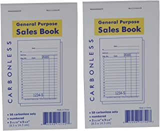 General Purpose 2-Part Sales Order Book Receipt Invoice 3-11/32 x 5-5/8 Inches Guest Check 50 Sets/Book, 2 Books (100 Sets)