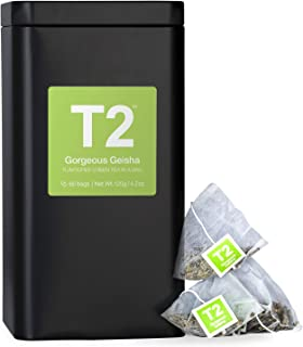 T2 Tea Gorgeous Geisha Green Tea in Tea Caddy 60 Teabags, 1 x 60 Count