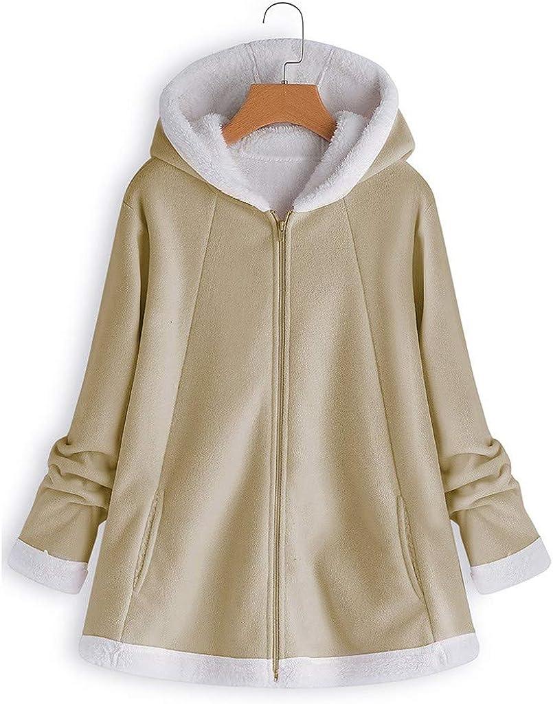 Riou Damen Fleecejacke mit Kapuze Winter Teddy Fleece Gefüttert Warme Vintage Elegant Einfarbig Oversize Mittlere Länge Winterjacke Mantel Khaki