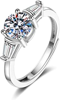 Splendente Fashion Ring Imitation Jewelry Artificial Diamond- with Side Stones 4 Prong Adjustable Ring for Men Women Boys ...
