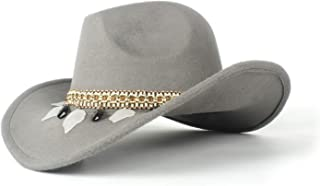 JAUROUXIYUJI New Fashion Lady Pure Wool Felt Western Cowboy Hat Suitable for Wide-Brimmed Cowgirl Solid Color Woven Belt Leaf Cowboy Hat (Size: 58 cm, Adjustment Rope)