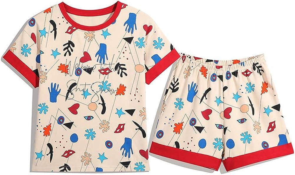 KINYBABY Big Girls Casual Nightie Sleepwear Pajama Set Cotton Short Sleeve Nightwear Lovely Kids Sleep Top and Shorts (Photo Color,14-16 Years/Tag XXL)