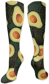 Calcetines de poliéster y algodón por encima de la rodilla, retro, unisex, para muslo, cosplay, botas largas, para deportes, gimnasio, yoga, aguacate, fruta.