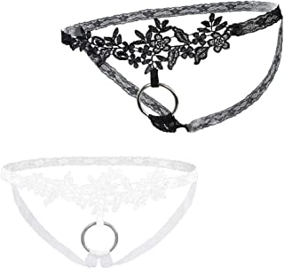 58c22942a Prettyia 2pack Mens Sissy Lingerie Sheer Mesh Lace Floral Gay Underwear  Pouch T-Back Thongs