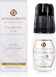 BEYELIAN Volume Fan Glue Medical Grade Adhesive 5ml Black/Professional Eyelash Extension Use Only/Fast Drying 2-3 Sec/Great Retention 7 Weeks/Mega Volume Sets Semi-Permanent Lashes