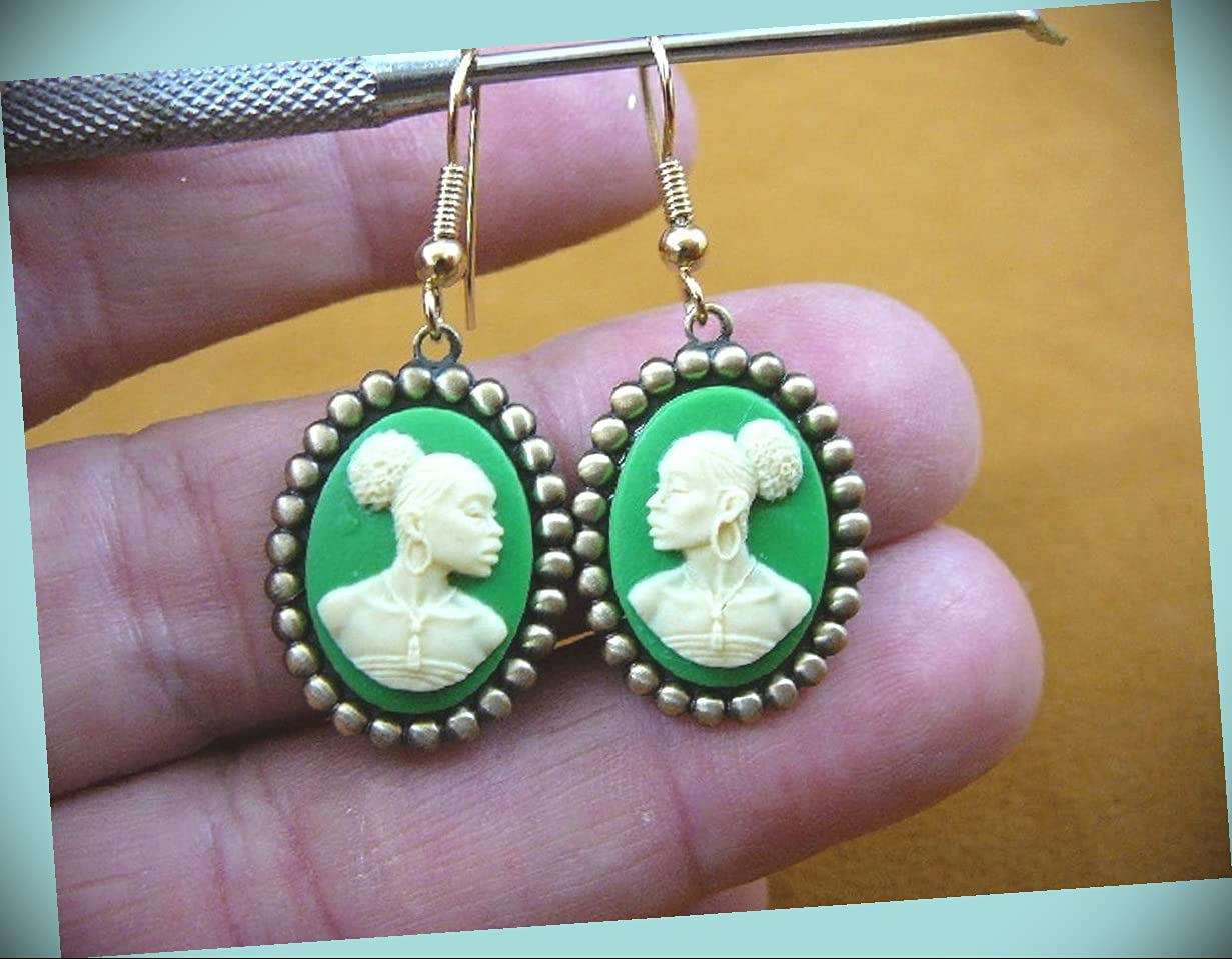 Dealing full price reduction African American Lady Green Cameo Stat Elegant Women Dangle For Earrings