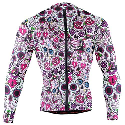 DerlonKaje Sugar Skull Men's Cycling Jersey Long Sleeve Breathable Biking Shirts Gear Style