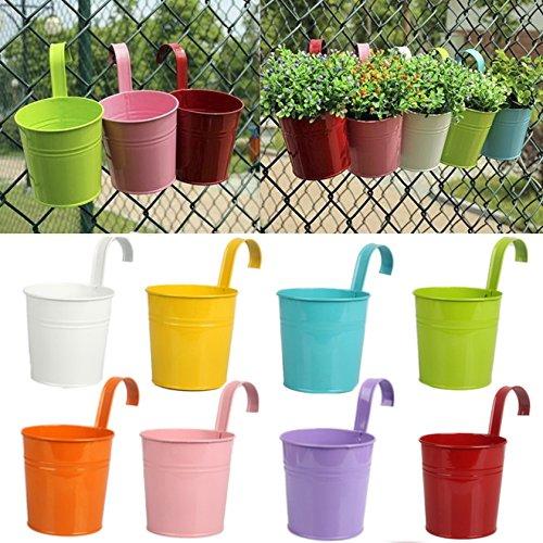 Bluelans 8 x en métal fer Vase Pot de fleur à suspendre balcon Jardin Pot de fleurs décoration de maison