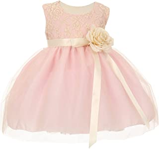 adddec0b5ee Cinderella Couture Baby Girls Pink Two Tone Lace Satin Ribbons Corsage  Flower Girl Dress 12M