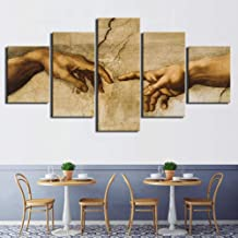 FJNS Wall Art Canvases Print 5 Piece Creation of Adam Hand of God Abstract Painting HD Print Decor Posters Wall Decor Gift,B,40x60x240x80x240x100x1