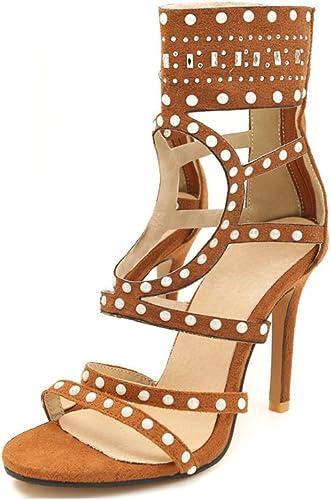 Exing Femmes Chaussures Stiletto Sandales Hautes Peep Toe Low-Top Rivets Bottines pour Le Bureau du Parti