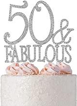 50&Fabulous Rhinestone Birthday Cake Topper | 50th Party Decoration Ideas | Premium Sparkly Crystal Diamond Gems | Quality Metal Alloy (50&Fab Silver)