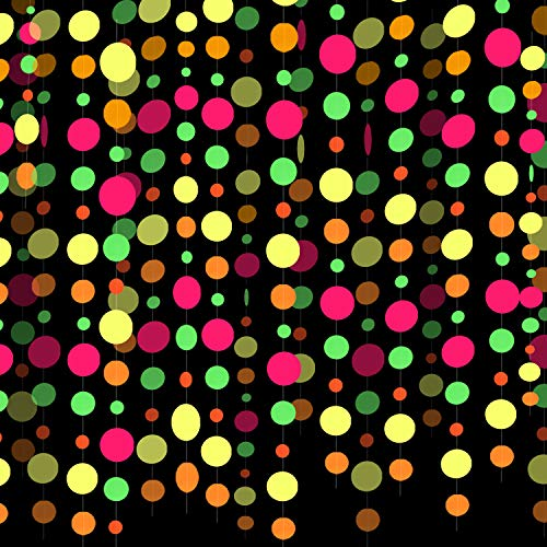 78ft Neon Round Dot Party Streamers UV Black Light Reactive Glow in the Dark Paper Garland Fluorescent Party Hanging Decorations Glow Circle Dots for Wedding Birthday Party Decorations