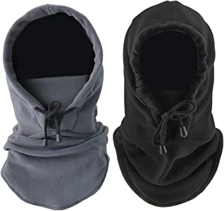 2 PCS Heavyweight Tactical Balaclava Face Mask Winter Warm Windproof Balaclava Thermal Fleece Hood Neck Warmer Gaiter Motorcycle Balaclava Dust Mask For Men Women Cold Weather Outdoor Sports Ski Snowboard