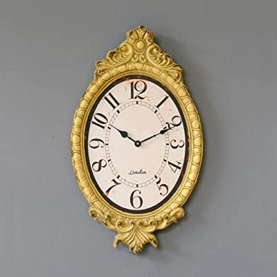 Wall Clock, Creative Retro Resin Clocks French Old Yellow Embossed Mute Wall Watch Living Room