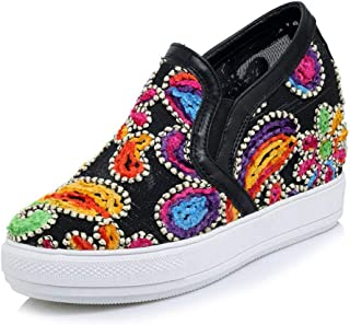 CYBLING Women's Slip On Loafers Flats Shoes Flower Embroidery Platform Hidden Heels Wedges Sneakers