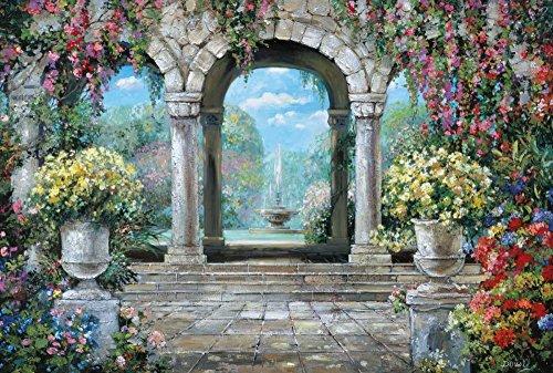 Feeling at home Kunstdruck-auf-Papier-cm_40_X_60-Duvall-Roger-europäisch-Bild-Poster-Mediterranes-Dorf-Fluss-toskanischer-Blumen-Urne-Brunnen