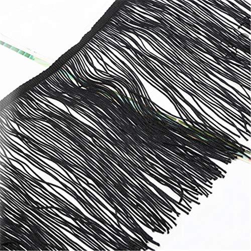 RAILONCH 10 Meter Länge 15cm Breite Quaste Seidig Fransen Geschnitten Fransenborte Kostüm Quaste trimmen Garment Apparel Spitzenborte Nähzubehör (Schwarz)