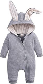 rabbit ears grey long sleeve jumpsuit for baby
