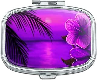 Beach Sunset Hibiscus Flower Hawaiian Purple Rectangle Pill Case Trinket Gift Box