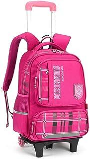 GLJJQMY Travel Bag Backpack Student Trolley Bag Backpack Men and Women Travel Bag Detachable Children's Bag Trolley Backpack (Color : Rose red, Size : 41x15x31cm)