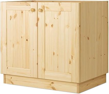 Arredamenti Rustici Base Lavello per Cucina modulare da L 45 cm Serie Verona in Legno Pino Massello Grezzo Non Verniciato
