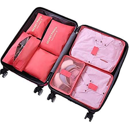 Ensemble de 7 Organisateurs de Voyage Cubes de Emballage Sac à Linge Bagages Sacs de Compression Vêtements Valises Sacs de Rangement