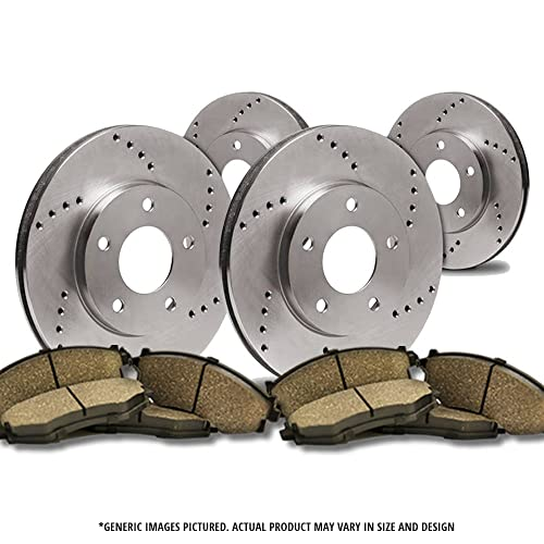 Max Brakes Front /& Rear Premium Brake Kit Fits: 2002 02 Jeep Grand Cherokee w//Akebono Front Calipers KT001943 OE Series Rotors + Ceramic Pads