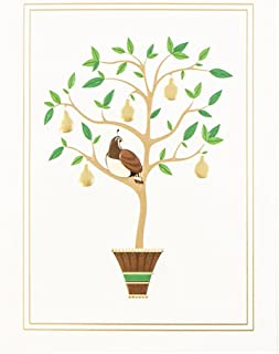 JAM PAPER Christmas Cards & Matching Envelopes Set - Partridge in a Pear Tree - 25/Pack