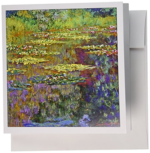 3dRose Water Lilies by Impressionist Artist Claude Monet Waterlilies on Lake Famous Nature Impressionism Greeting Cards, Set of 12 (gc_155656_2)