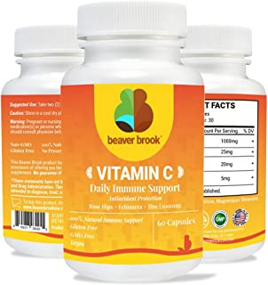 Vitamin C 1000mg with Rose Hips, Zinc & Echinacea Maintains Healthy System, Supports Antioxidant Protection, Non-GMO, Glut...