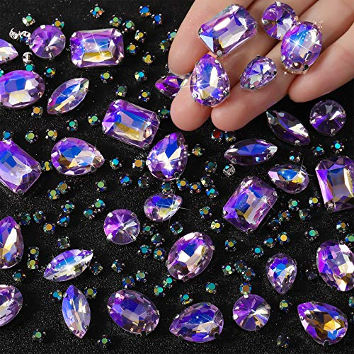 156 Pieces Clear Sew On Glass Rhinestones Metal Prong Setting Flatback Rhinestones Sewing Claw Crystals Rhinestones Mixed Shapes for Craft, Clothes, Shoes, Dress, Jewelry Making (Crystal Purple AB)
