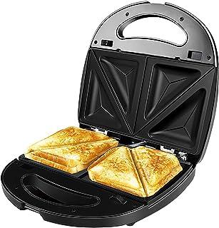 YUNYODA Elektrische grill, 750 W, platen met antiaanbaklaag, 3-in-1, BPA-vrij, roestvrij staal/kunststof